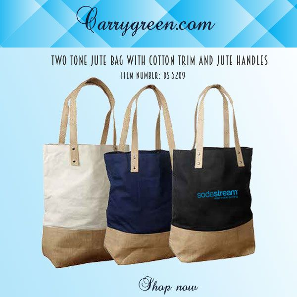 Two Tone Jute Bag With Cotton Trim And Handles