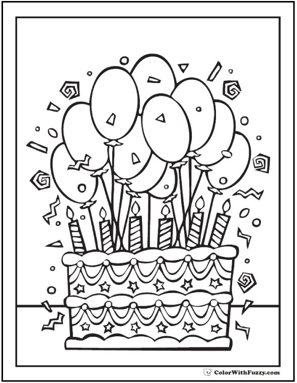 28+ Birthday Cake Coloring Pages: Customizable PDF ...