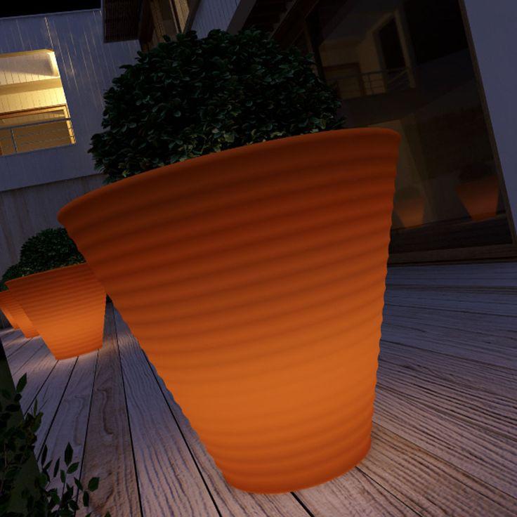 orange lighting flower pot