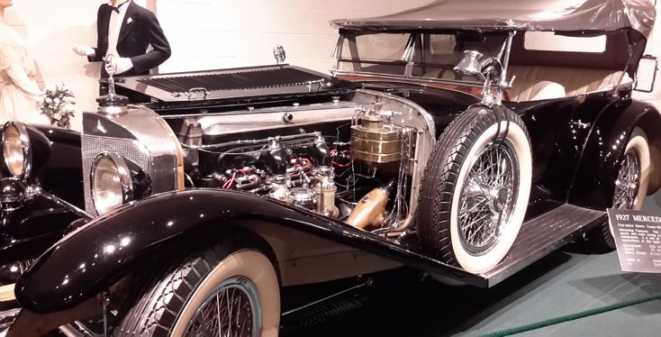 "1927 Mercedes Benz - 4-Place Sports Tourer Model ""S"" has 220-HP, 110 MPH, 6-cylinder, water-cooled, supercharged gasoline engine. Produced in Stuttgart, Germany."