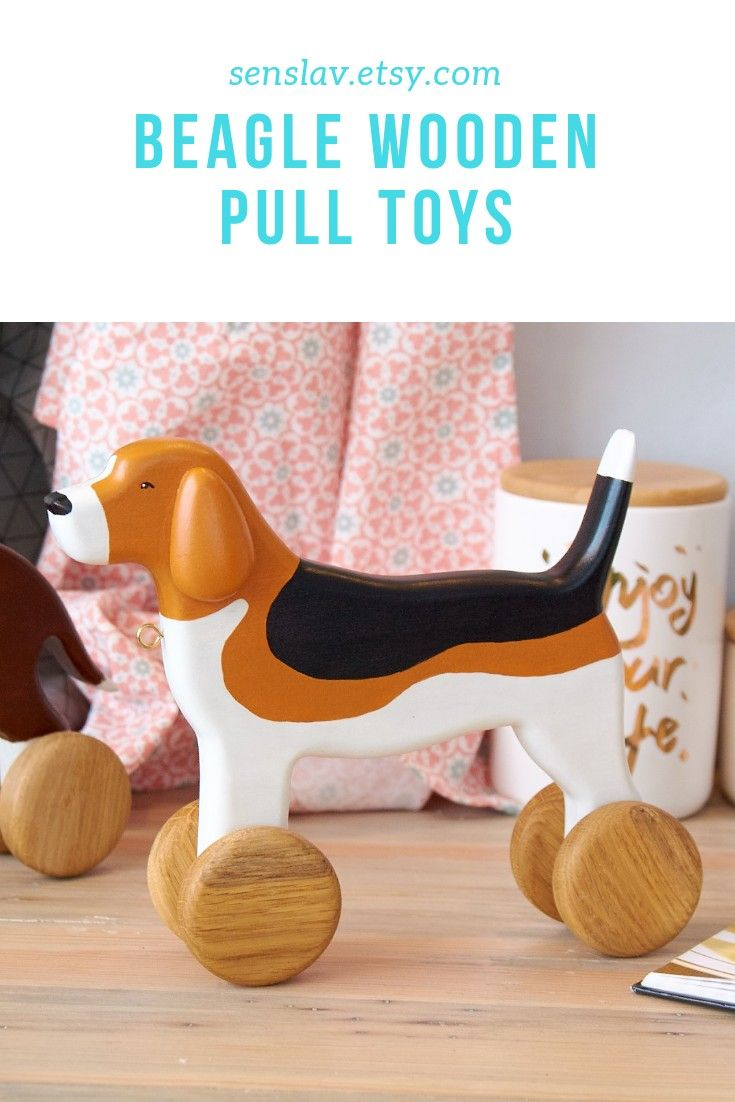 Wooden Beagle Pull Toys Dog On Wheels Eco Friendly Montessori Baby