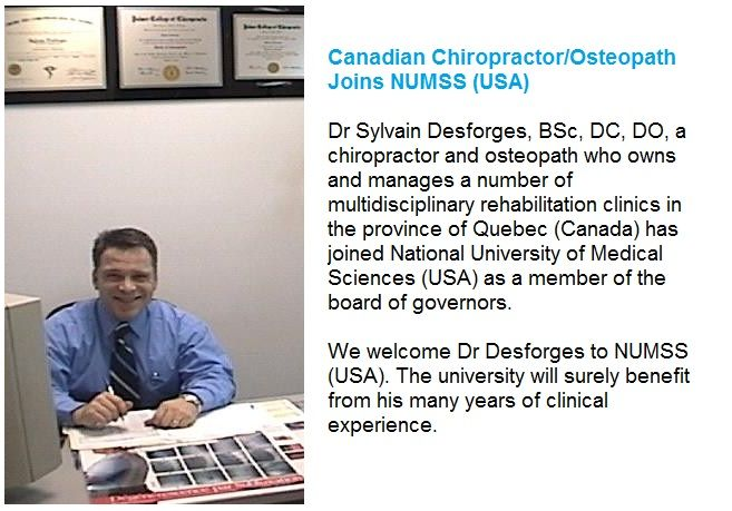 View this image where you can get to know about Dr.Sylvain Desforges who has joined as a member of board of governors at NUMSS.   #osteopathy #osteopathicschool #osteopathicschool #nationaluniversityofmedicalsciences #numss