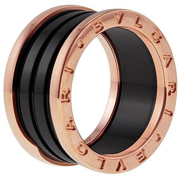 bvlgari bulgari bzero1 18k rose gold u0026 ceramic ring blueflycom liked on polyvore featuring jewelry rings pink watches pink jewelry