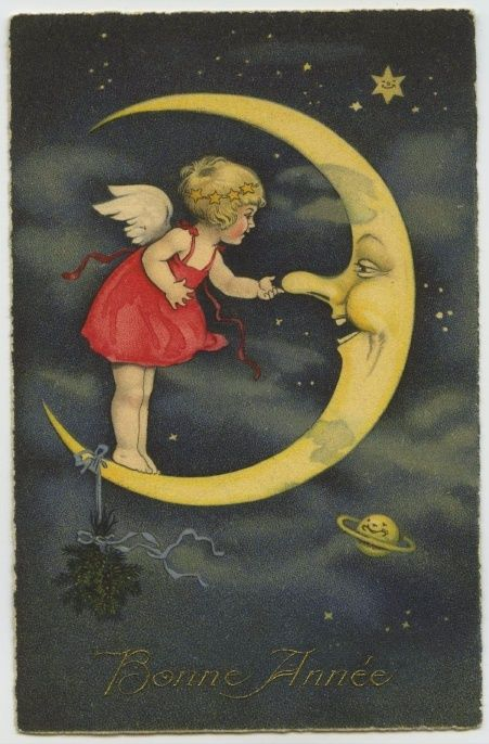 "antique French ""Happy New Year"" postcard: Vintage Moon, Vintage Postcards, Antique French, Fairies, Angel Illustrations, French Card, French Postcards"