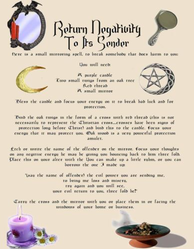 Banish Negativity Return Spell Book of Shadows Parchment Page Color Images | eBay