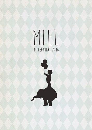 Geboortekaartje Miel - voorkant - Pimpelpluis - https://www.facebook.com/pages/Pimpelpluis/188675421305550?ref=hl (# jongen - olifant - ruitjes - ballon - dieren - silhouet - lief -  origineel)