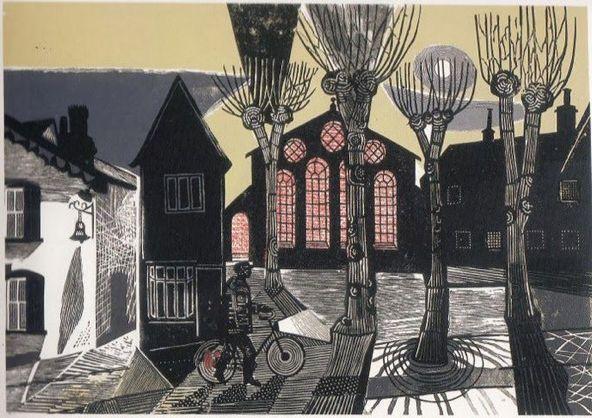 Town Hall Yard by Edward Bawden 1957 Linocut