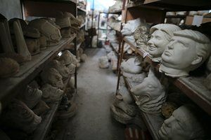 Moulds for different masks, including those of Hillary Clinton and sit in storage