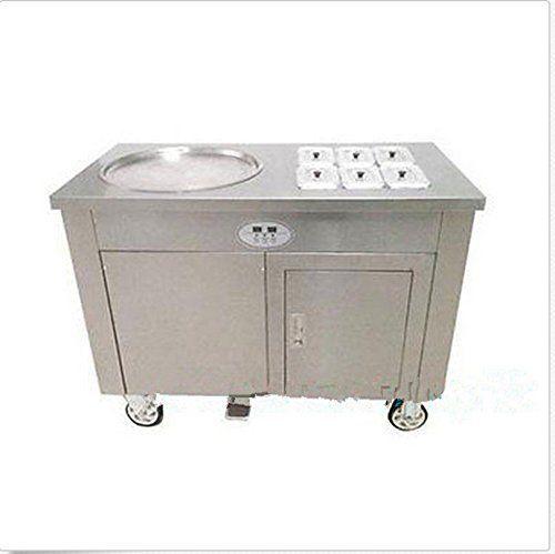 JIAWANSHUN Single round pan Rolled Fried Ice Cream making Machine 220V 1200W Pan Dimension 45cm