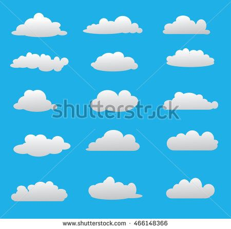 Set cloud simple style in blue sky. Vector illustration. Cloud icon.