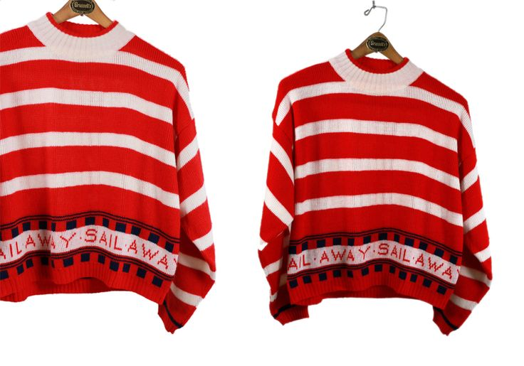 Vintage Vtg Vg 1980's 80's SAIL AWAY Red and White Striped Crew Neck Sweater Hipster Retro Candy Cane Striped Kitsch Women's Small Medium by foxandfawns on Etsy
