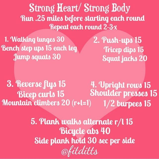 February is heart health awareness month. Do your heart and the rest of your body a favor and try this strong heart strong body workout from @fitditts!