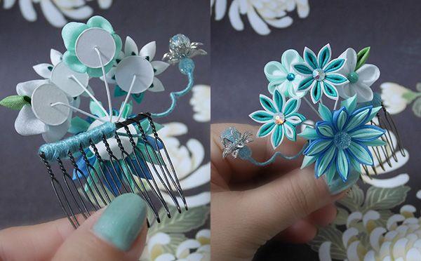 katumi made *つまみ細工の簪(かんざし)髪飾り、つまみ細工のshop*つまみ細ヘアコーム完成品