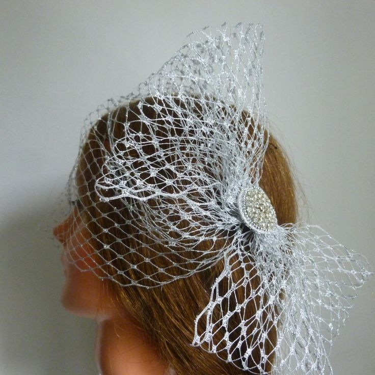 Metallic silver wedding veil Silver Fascinator  Wedding mother of the bride Races Ascot occasion event by OliviaHeadwear on Etsy