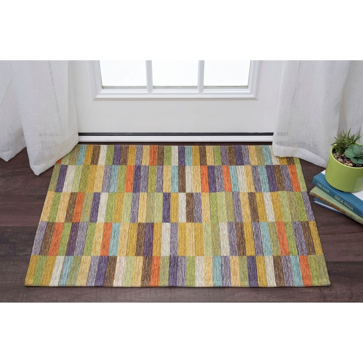 Alise Rugs Drayton Colorblock Acrylic Chenille Scatter Rug (2' x 3'), Multi, Size 2' x 3'