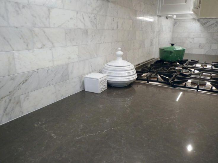 Piatra Gray Quartz Countertop With Carrara Marble Backsplash Ideas