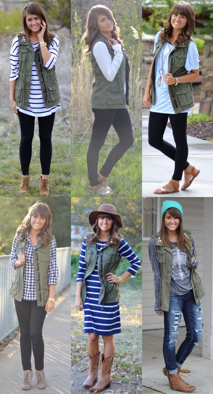 Green vest ❤️. LOVE THESE JEANS also. I like that they are distressed but without holes. Also like every single one of these outfits (have the gingham button down already)