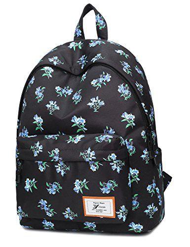 Leaper Sac à dos Sport Loisirs Sac d'école femme School Backpack Cartable Collège Fille Sac porté dos avec motif de fleurs de style coréen:…
