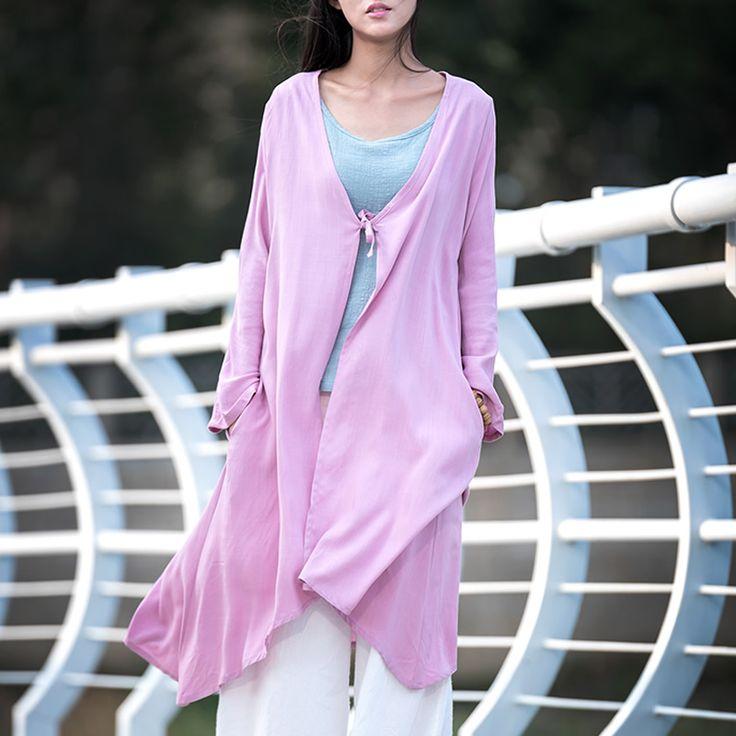 Solid Green Long sleeve Linen Long Blouse Women Brand Casual Loose Shirt White Red Summer style Kimono Linen Shirt Tops B067