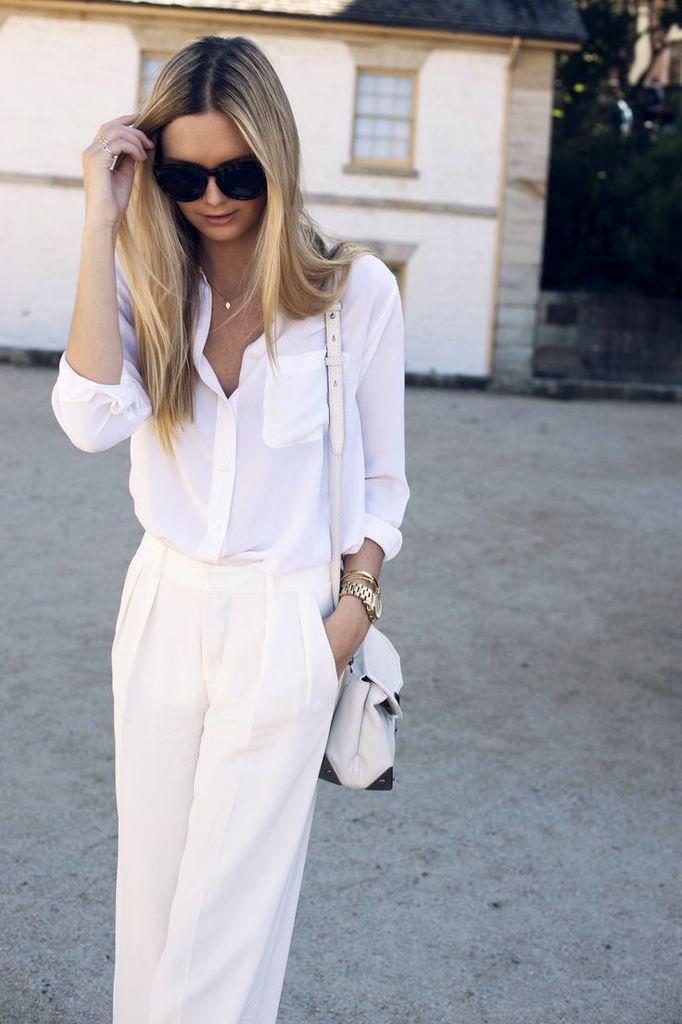 #allwhite #whiteblouse #whitepants