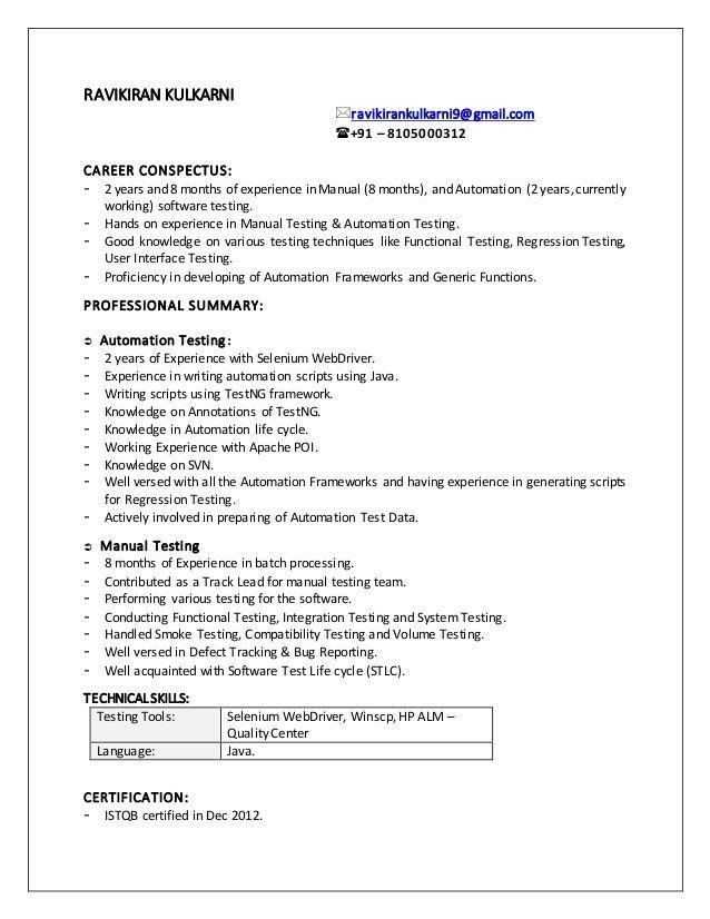 selenium automation test engineer resume  best resume