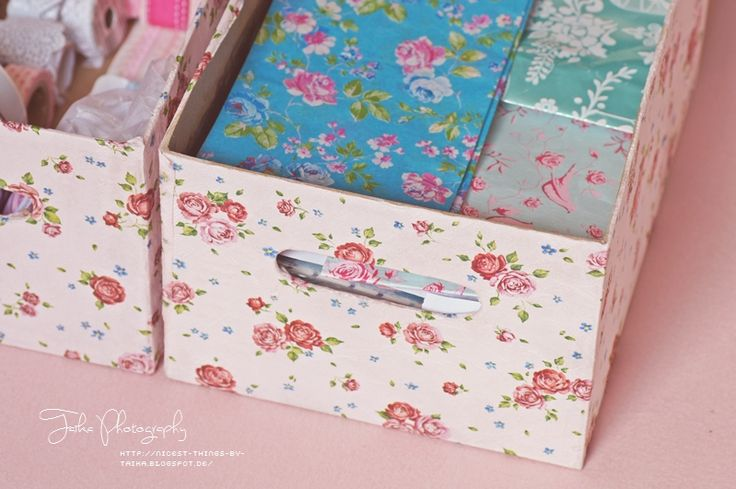 Decoupage box from paper napkins. Last spring, ikea was selling a very similar napkin.  * N i c e s t T h i n g s *: DIY: Storage Boxes
