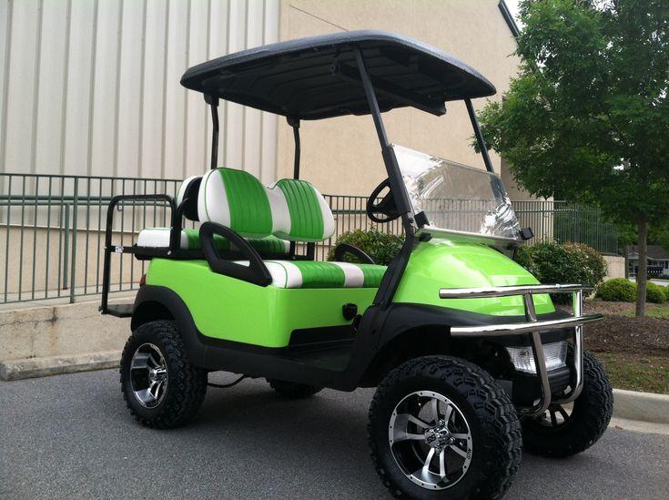 Custom Golf Carts Lime Green Beach Cruiser - Club Car Precedent