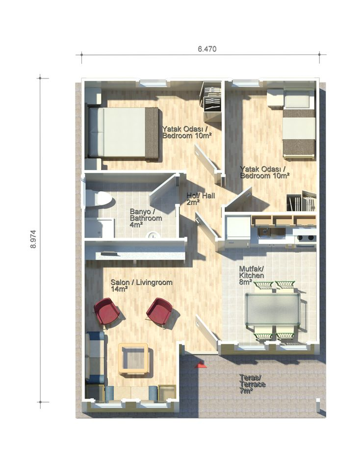 Petunya 51 square meters floor plan kit homes pinterest products square meter and - Houses undersquare meters ...