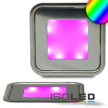LED Bodenstrahler SLIM, quadr., IP54, edelstahl, RGB / LED24-LED Shop