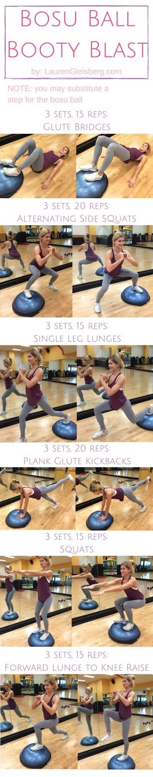 Bosu Ball Booty Workout | click for the full workout plan by LaurenGleisberg.com