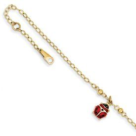 Genuine IceCarats Designer Jewelry Gift 14K Adjustable Enameled Ladybug Anklet In 10.00 Inch IceCarats. $175.00. Polished 14k Yellow gold Hollow Enamel Fancy lobster Resin. 30 day money back guarantee. Genuine IceCarats Designer Jewelry Gift. 14k Yellow Gold. Weight 2.02 grams. Save 69% Off!