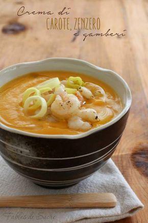 Crema di carote, zenzero e gamberi rubata dal libro del Maestro Luca Montersino. Semplice da fare, cremosa, saporita e davvero deliziosa.