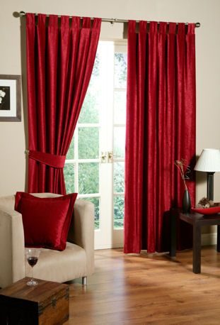 Living room inspiration (red drapes)