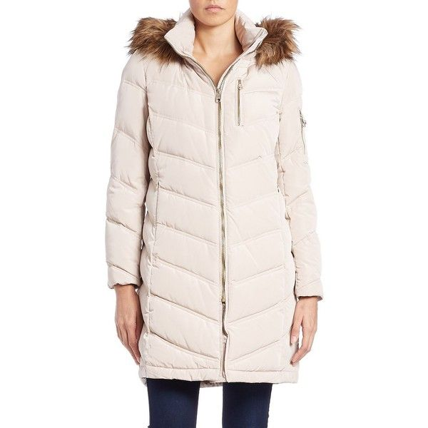 Calvin Klein Petite Faux Fur-Trimmed Puffer Coat ($150) ❤ liked on Polyvore featuring outerwear, coats, petite, winter white, petite coats, long sleeve coat, fur coat, pink coat and calvin klein coats