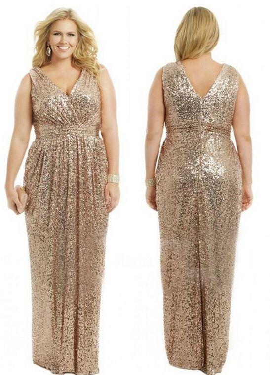 #Gold Sequins Plus Size Bridesmaid Dresses #Gold Plus Size Bridesmaid Dresses #Elegant Bridesmaid Dresses #High Quality Bridesmaid Gown
