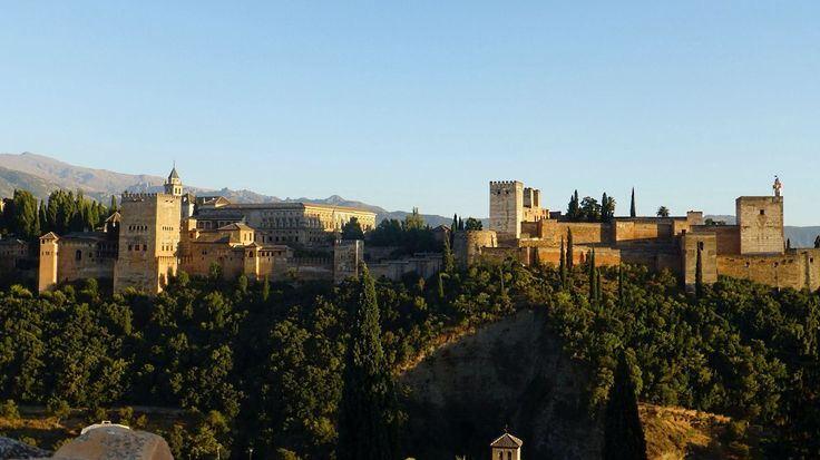 The Alhambra view from a restaurant Estrellas San Nicolas in Granada