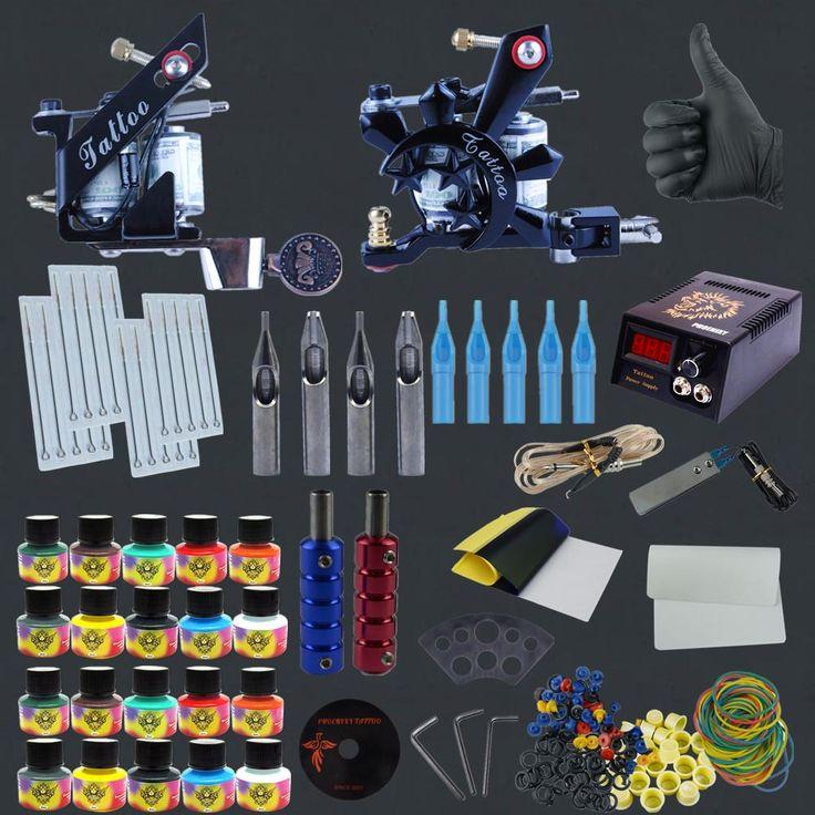 Professional Tattoo Kit 8 Wrap Coils Tattoo Machine & 20 Color Tattoo Ink & 40pcs Needle Tattoo Nozzle Grip Set