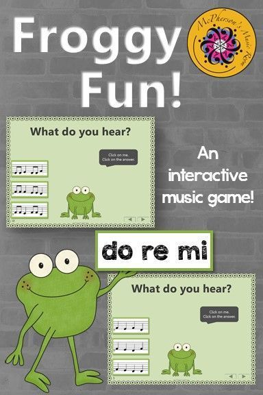 Elementary Music Melody Game! Your students will love this interactive game and the dancing frog when they select the correct do re mi melody! Fun addition to Orff and Kodaly resources!