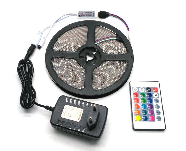 IP65 Waterproof 5050 RGB 5M LED Strip Set + 24Keys IR Controller + 12V 3A Power Adapter Flexible Tape Home Decoration Lighting