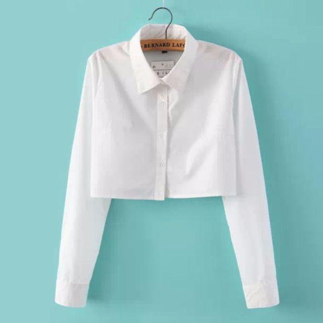 Женщины Твердые цвет Росы пупок Блузки С Длинным Рукавом Элегантный Короткие рубашки отложным Воротником Sexy Lady Повседневная Топы Плюс размер S356