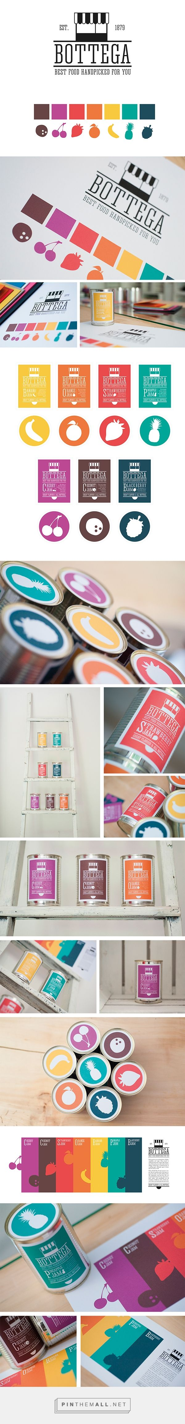 Bottega packaging branding on Behance by Discromie curated by Packaging Diva PD. What can you do with a can, icons and some color?