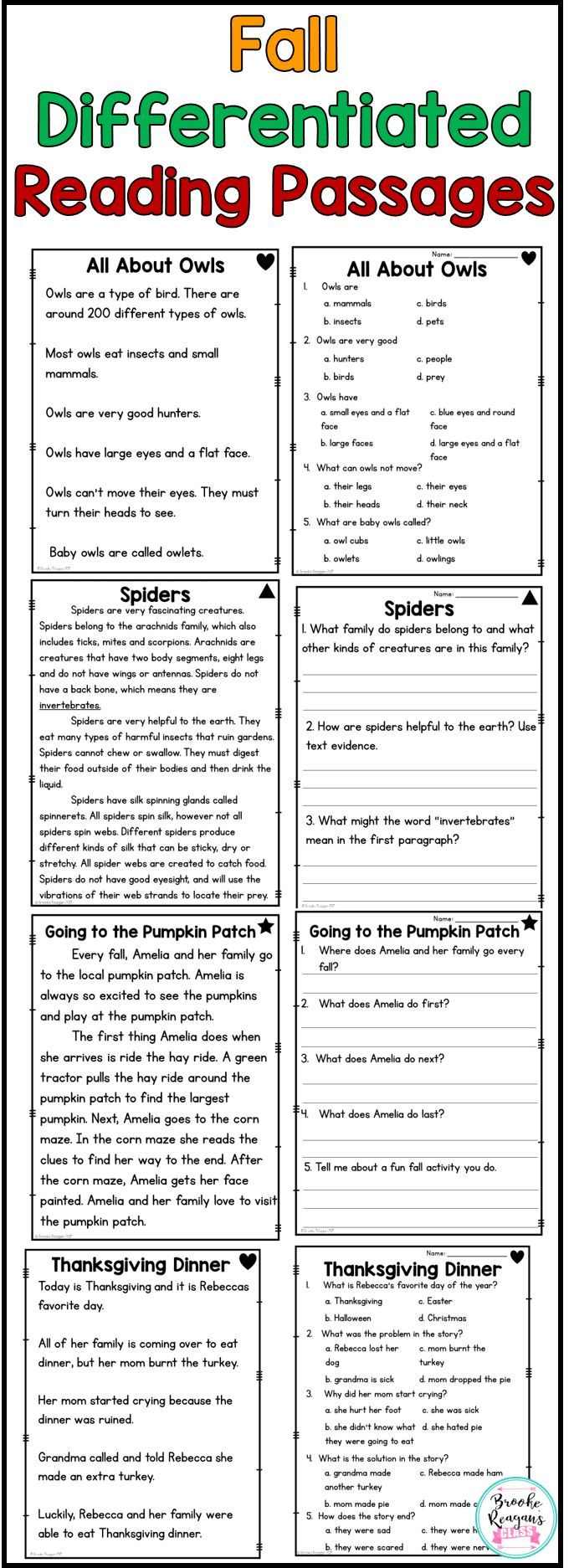Fall Reading Passages Differentiated Levels To Meet Your Students Needs Perfect F Comprehension Passage Differentiated Reading Reading Comprehension Passages [ 1873 x 680 Pixel ]