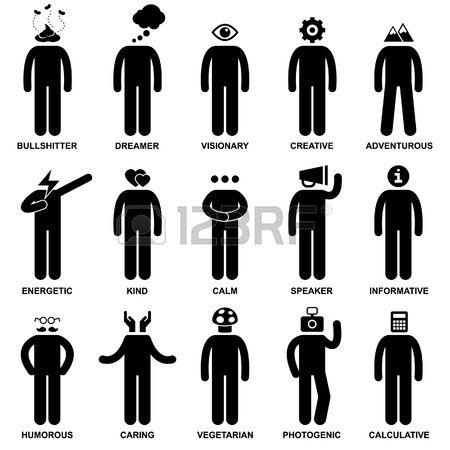 People Man Characteristic Behaviour Mind Attitude Identity Stick Figure Pictogram Icon