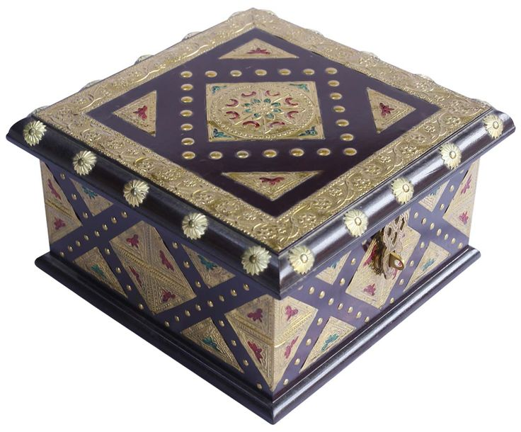 "Bulk Wholesale Purple and Golden Jewelry Box in Wood – 11.5"" Handcrafted Trinket Box with Motifs in Brass – Antique-Look Accessory Organizers from India"