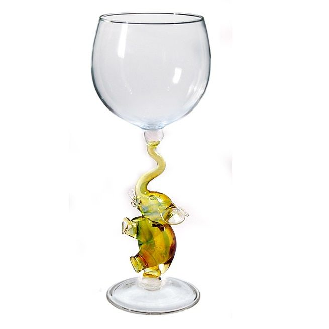 Gold Elephant Hand Blown Wine Glass - Glassware