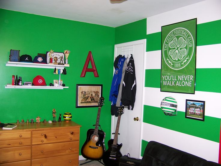 celtic fc hoops and colors painted and decorated in adams bedroom