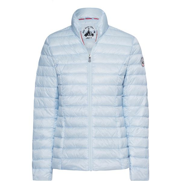 JOTT - JUST OVER THE TOP Cha Down Ciel Blue // Lightweight down jacket (€139) ❤ liked on Polyvore featuring outerwear, jackets, slim down jacket, blue jackets, lightweight down jacket, slim jacket and feather jackets