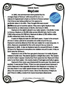 Neptune Reading Comprehension Passage   Science   Reading