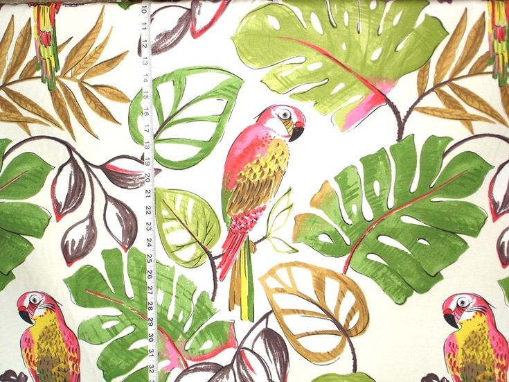 A Parrot Fabric A Bright And Busy Retro Fabric With Funky Parrots A Bold Tropical Forest Is The Home For A Flock Of Large Colorful Parrots