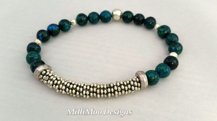 Semi Precious Chrysocolla Gemstone Bracelet,Green/Blue Gemstones,Silver Mesh Bracelet,Gemstone Bracelet,Stretch Bracelet,Beaded Bracelet by MilliMooDesigns on Etsy